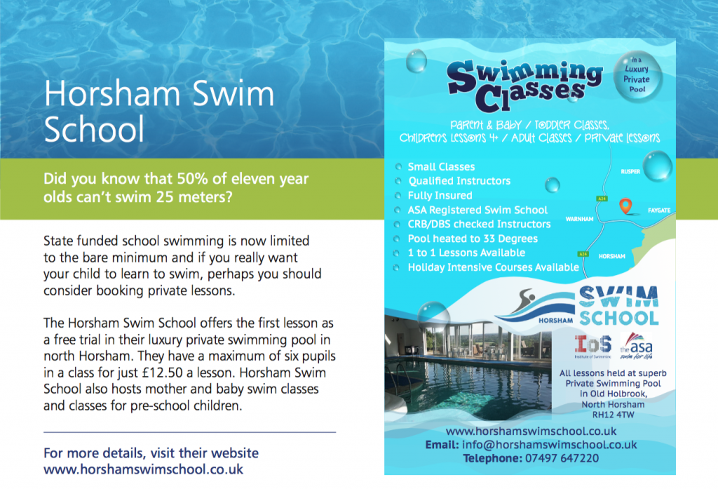 Private swimming lessons in Horsham
